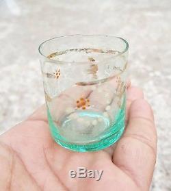 1910's ANTIQUE SCARCE UNIQUE HAND PAINTED GLASS TEQUILA SHOT MINI TUMBLER & POT