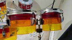 1970's LUDWIG Vistalite Tequila Sunrise 9 Piece Clear Acrylic Drums Rare Vintage