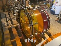 1970's LUDWIG Vistalite Tivoli Bass Drum Tequila Sunrise 24