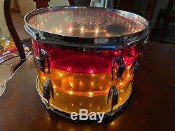 1970's LUDWIG Vistalite Tivoli Drum Rack Tom Tequila Sunrise 13 FREE SHIPPING