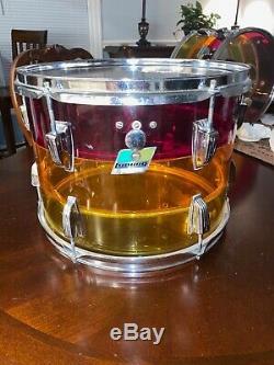 1970's LUDWIG Vistalite Tivoli Drum Rack Tom Tequila Sunrise 14 X 10
