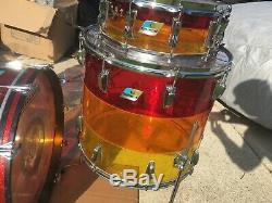 1970's Ludwig Tequila Sunrise Vistalite Drum Set- Blue Olive Badge