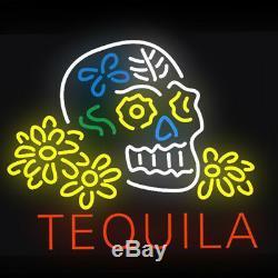 24x20TEQUILA Skull Neon Sign Light Tiki Bar Bistro Wall Decor Handcraft Art