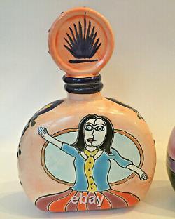 2 Los Azulejos Mendez Torrez Picasso Masterpiece Tequila Bottles Pottery (empty)