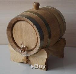3L Brass Band Oak Barrel for whiskey tequila wine bourbon + OAK MUG hand made