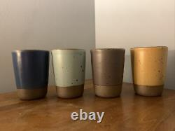 4 East Fork Pottery Juice Cups Malibu, Tequila Sunrise, Lapis, Prune