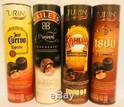 4 Turin Liquor Filled Chocolates Candy Baileys Tequila 1800 Jose Cuervo Kahlua