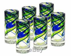 (6 Pack) Mexican Hand Blown Glass Blue/Green Shots Tequila Original Artisan