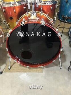 6-piece Sakae Almighty Birch drum set. Tequila lacquer finish