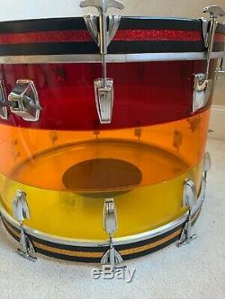 70s Ludwig 22 X 14 Tequila Sunrise Bass Drum Blue Olive Badge