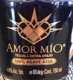 AMOR MIO Tequila Anejo EMPTY Ceramic Mexico Bottle 11.5