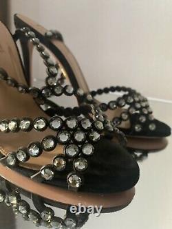 AQUAZZURA Tequila 105 crystal-embellished sandals Sz 36 $1,395
