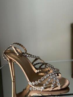 AQUAZZURA Tequila 105 crystal-embellished sandals Sz 41 Us 11