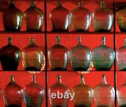 Antique Tequila Distillery Demijohn Bottle, Blow Molded Cup Bottom, Amber Glass