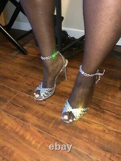 Aquazurra Tequila Leather Silver Crystal High Heel Shoes Size 41 BRAND NEW