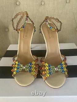 Aquazurra Tequila Swarovski Crystals Rainbow Sandals 36.5, New with Box