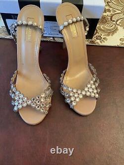 Aquazzura Tequila 105 Crystal Leather Sandals Nude Powder Pink 39 $1350