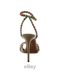 Aquazzura Tequila 105 Leather Sandal Women's Beige 38.5