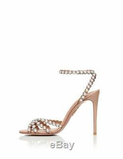 Aquazzura Tequila 105 powder pink leather pearl high heels sandals 38.5 8.5