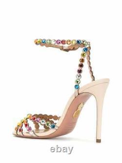 Aquazzura Tequila 105 rainbow crystal embellished leather sandals UK 5.5 / 38.5