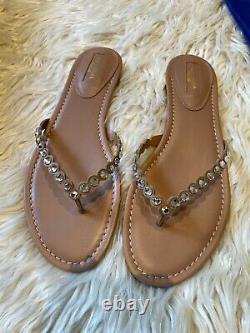 Aquazzura Tequila Crystal Embellished Flat Sandal Thong Size 40 Brand New In Box