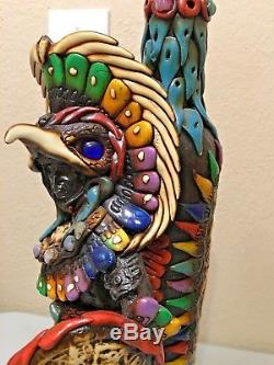 Aztec Eagle Warrior Tequila Bottle Shot Glass Mexican Obsidian Stone Teotihuacan