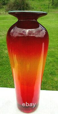 BLENKO Art Glass Tequila Sunrise Signed Richard Blenko Dated2002 Vase 10.5H