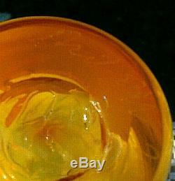 BLENKO Glass Tequila Sunrise SignedRichard Blenko Dated2002 WOW Vase 10H