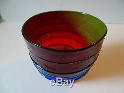 Blenko Art Glass Tequila Sunrise Threaded, Crackled Label Vase