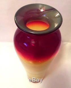 Blenko Glass Tequila Sunrise Vase Signed and Dated by Richard Blenko
