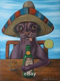 CHIHUAHUA DOG Beer UGLY! Sombrero HUMOR bar FUNNY Drinking Bizarre Tequila