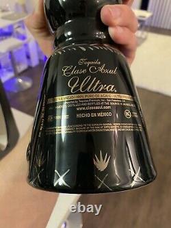 CLASE AZUL ULTRA Anejo TEQUILA Bottle Wood/Suede DISPLAY Case W Box 750ml Empty