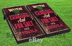 CORNHOLE BEANBAG TOSS GAME w Bags Game Boards LIFE, LEMONS, SALT and TEQUILA 1395