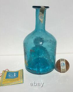 Cabo Wabo Resposado Tequila Bottle 1st Generation Blue Hand Blown, Sammy Hagar