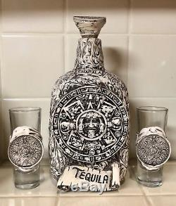 Chapala Tequila Mexican Aztec Mayan Art Decanter Bottle & Shot Glass Set RARE