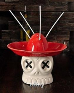 Dia de los Muertos Day of the Dead Mexican Fiesta Tequila, Rum Skull Tiki Bowl