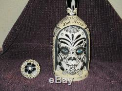 Dos Artes Tequila Bottle Unique Hand Painted Ceramic 2019 Day Of The Dead Oop
