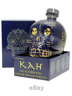 EMPTY Kah Los Ultimos Dias Blanco Tequila, 24 kt Hand Painted. Limited Edition
