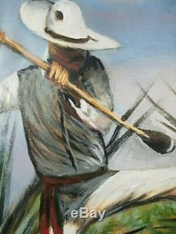 El Jimador Agave Farmer for mezcal sotol tequila Oil on Canvas Palomares PM58