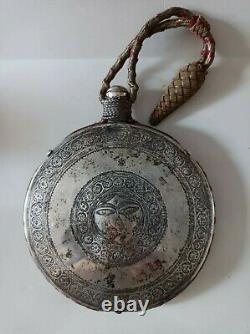 Gourde flacon a tequila argent massif art populaire vers 1900 Mexique