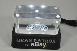 Gran Patron Burdeos Tequila Light Up Laser Etched Crystal Back Bar Pedestal