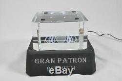 Gran Patron Platinum Tequila Light Up Laser Etched Crystal Back Bar Pedestal