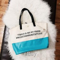 KATE SPADE Call to Action Tequila Is Not My Friend Tote Bag Turquoise
