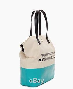 KATE SPADE Turquoise Call to Action Tequila Not My Friend Tote Handbag Bag NEW