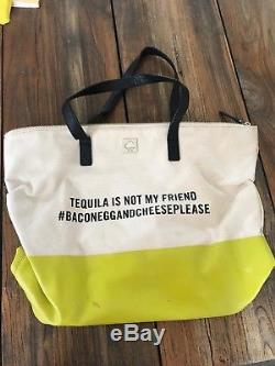 Kate Spade Tote, Tequila is not my friend, beige canvas with yellow