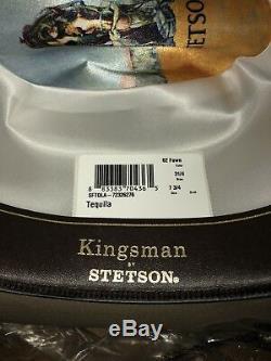 Kingsman + Stetson Tequilas Statesman Leather Trimmed Felt Cowboy Hat Size 7 3/4