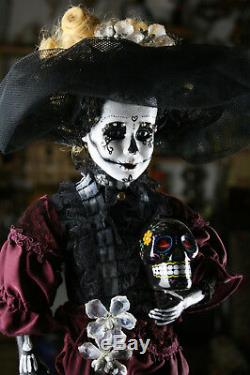 Künstlerpuppe la catrina DEKO totenkopf mexikanisch tequila kult unikat