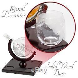 Licorera Con 4 Vasos De Vidrio Para Tequila Whiskey Brandy Bourbon Scotch Rum