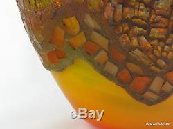 Lorrie Adams Mosaic Glass Art on Blenko 9953 SP Tequila Sunrise Vase (2004)