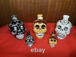 Lot 5 KAH Day of Dead TEQUILA 750ml Hand-Painted Skull Bottles